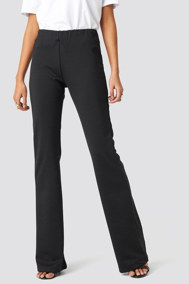 Flare Hem Knitted Trousers Black