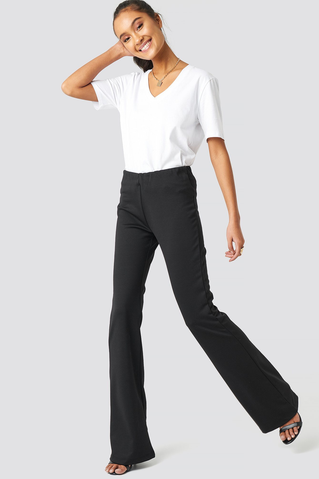 Black Flare Hem Knitted Trousers