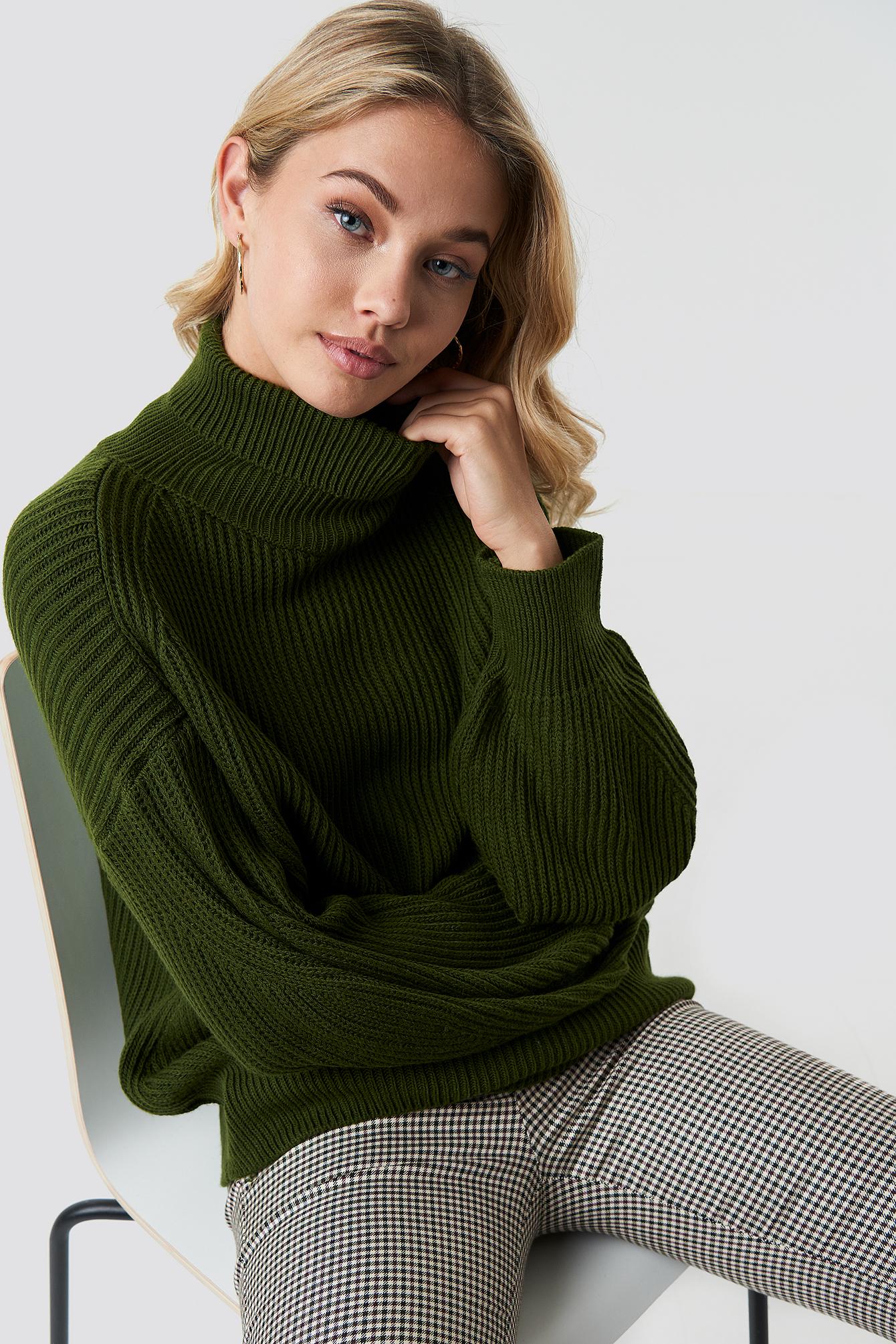 trendyol -  Balloon Sleeve Knitted Polo Jumper - Green