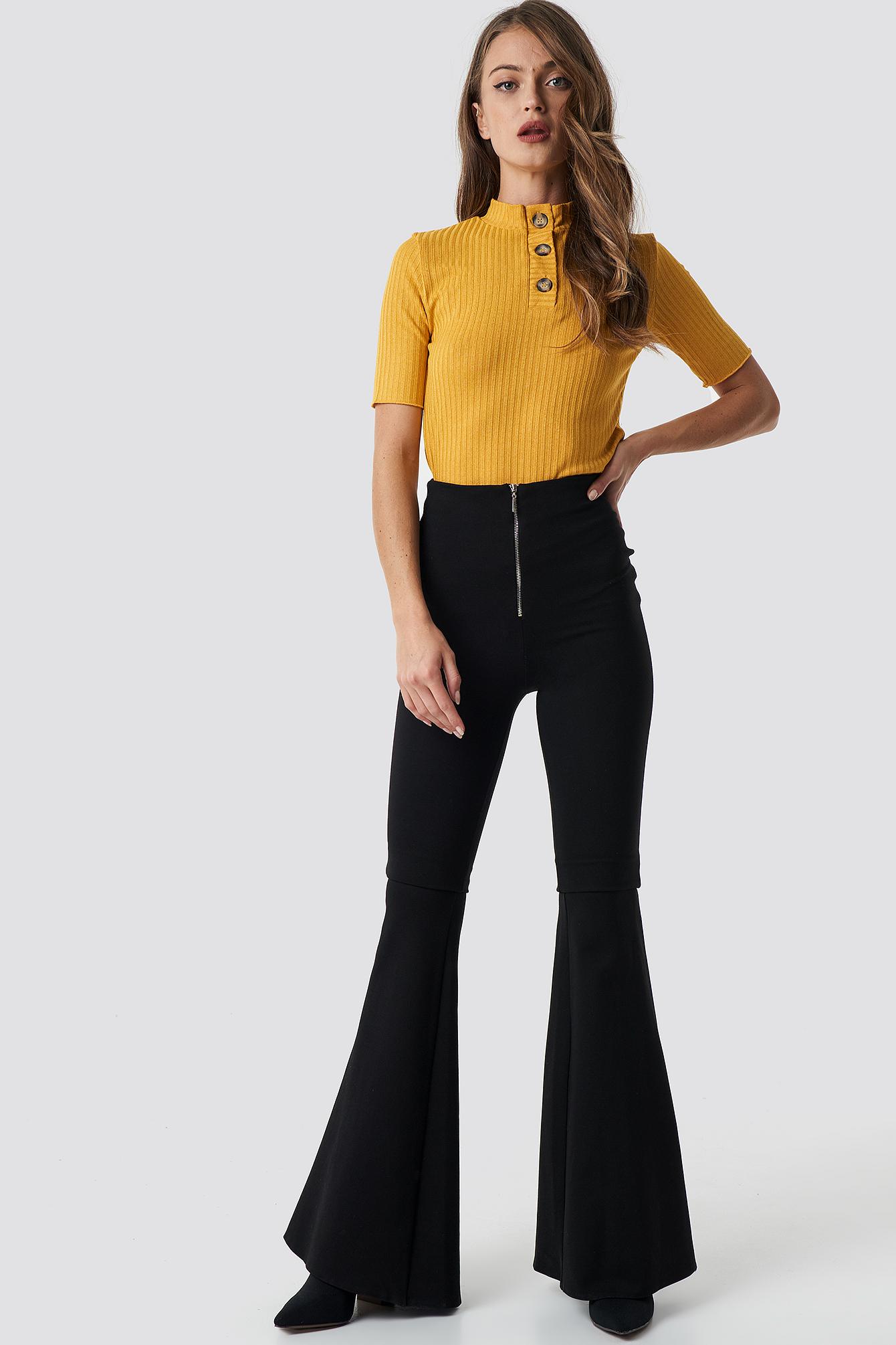 trendyol -  Flared Trousers - Black