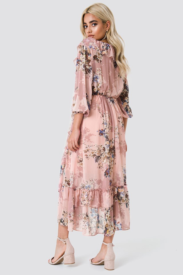 Floral Flounce Midi Dress Pink