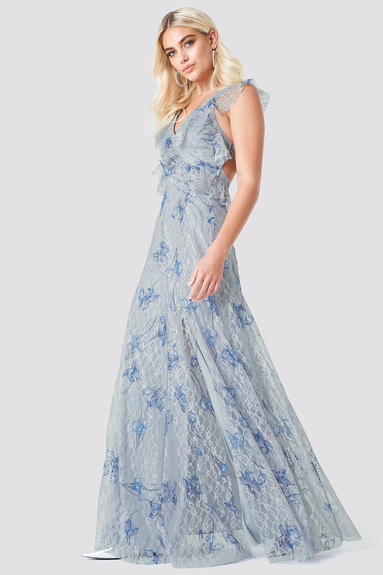Floral Lace Slit Maxi Dress NA-KD.COM