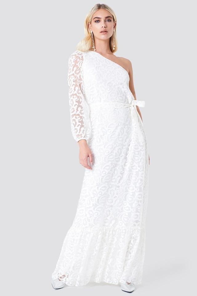 Floral One Shoulder Maxi Dress Ecru