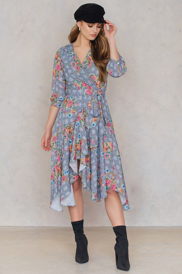 Floral Overlap Dress Gray
