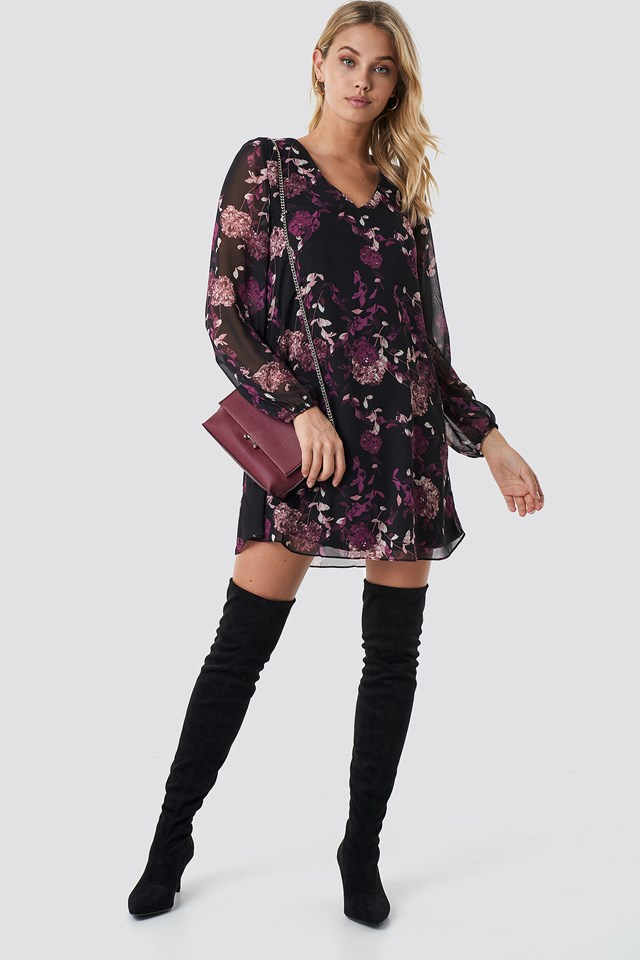 Floral Patterned Mini Dress Black