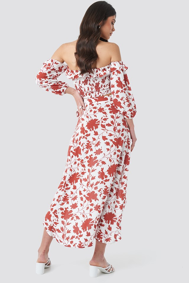 Floral Patterned Skirt-Blouse Set Multicolor