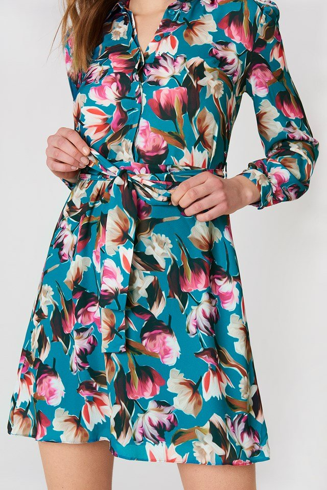 Floral Shirt Dress Multicolor