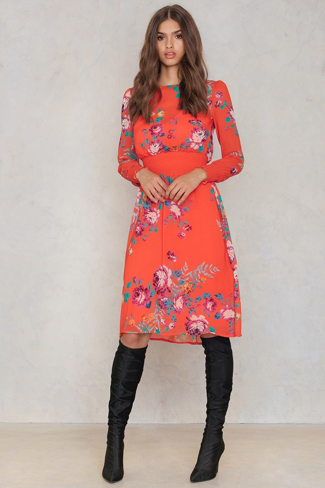 Floral Smock Dress Orange
