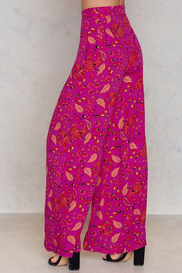 Floral Wide Pants Patterned