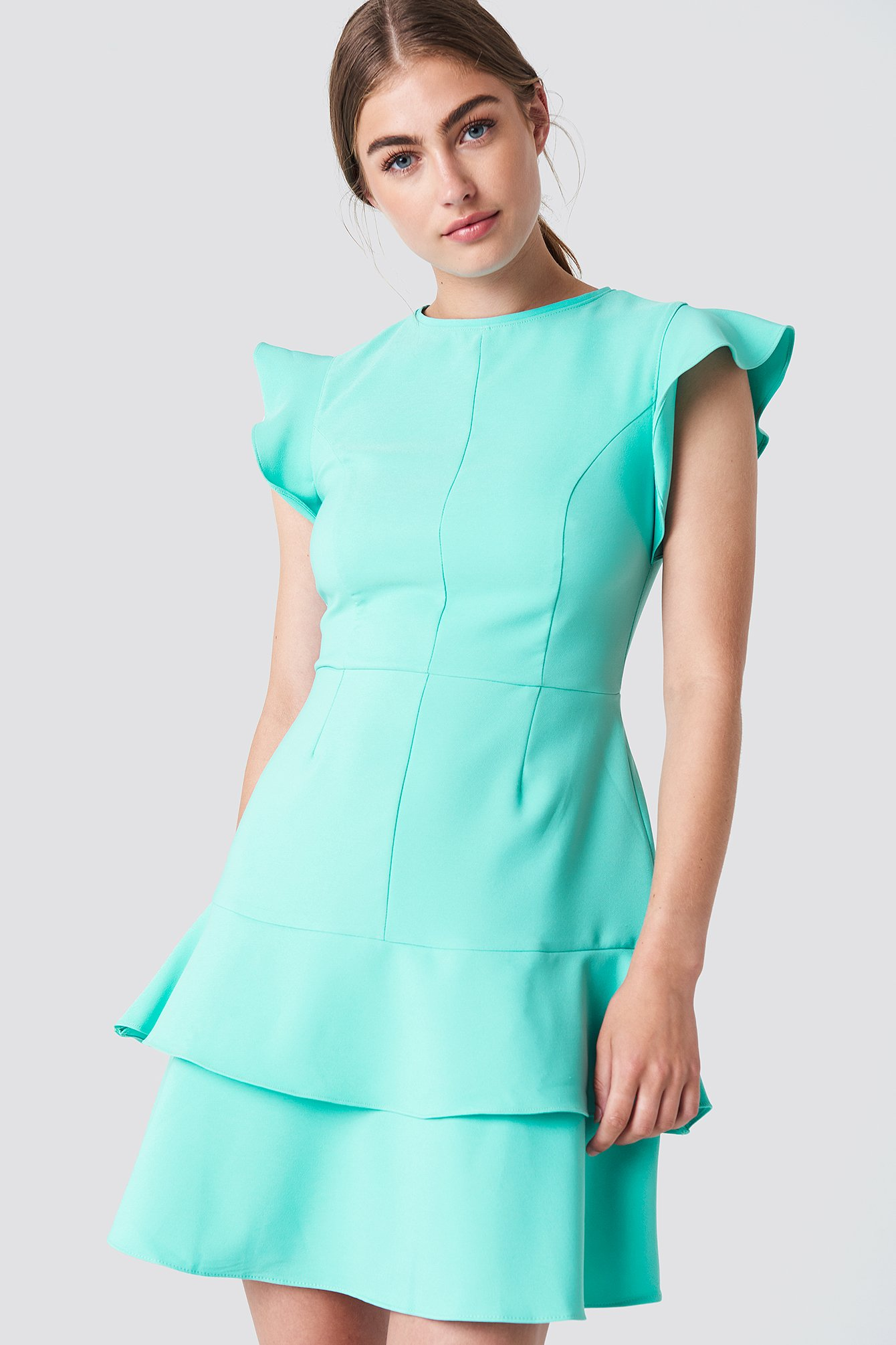 Flounce Shoulder Mini Dress - Green, Turquoise in Green,Turquoise