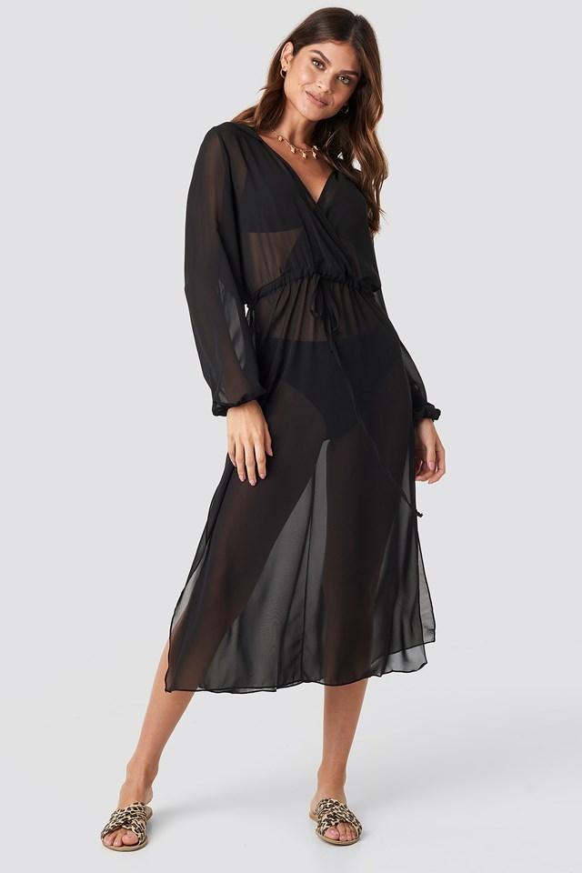 Flower Beach Midi Dress Black