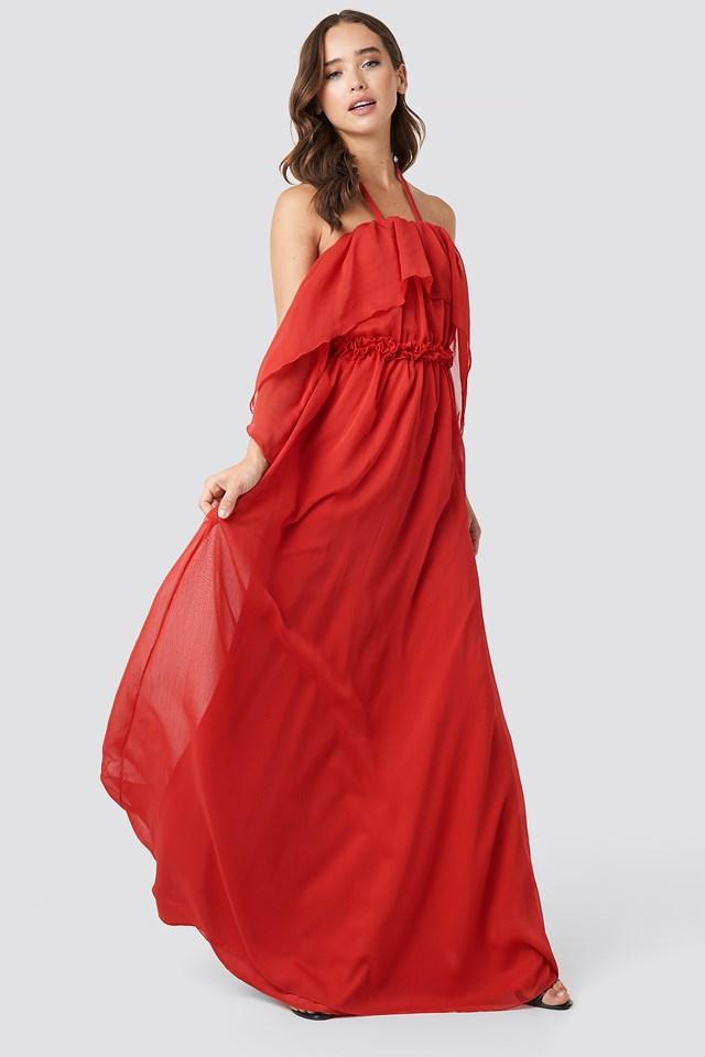 Flower Collar Evening Dress Vermilion