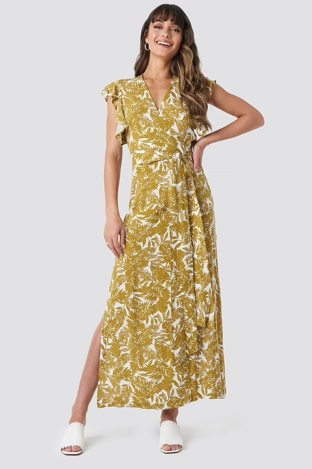Flower Double Breasted Maxi Dress Multicolor
