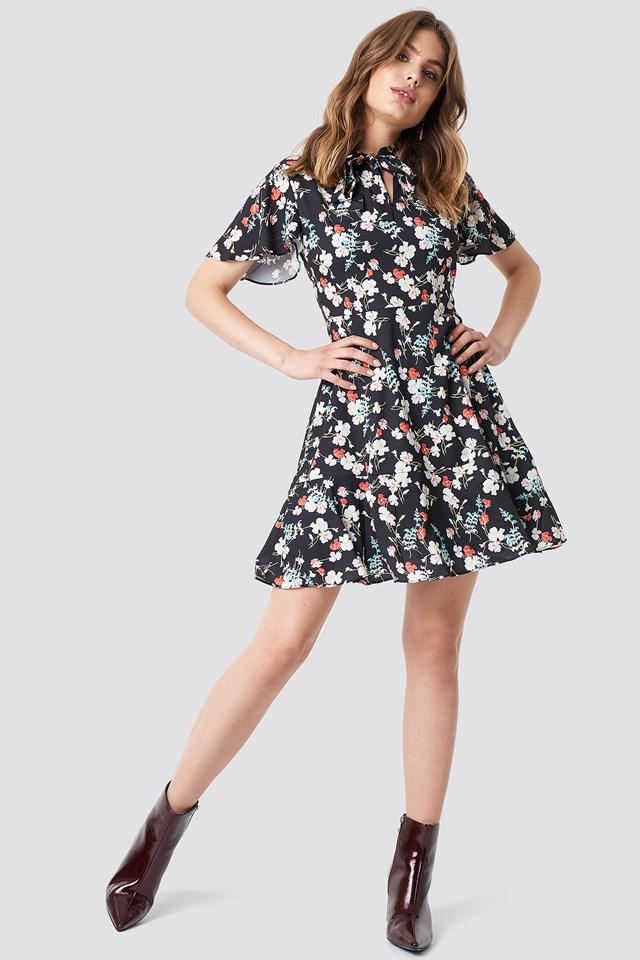 Flower Mini Dress Black