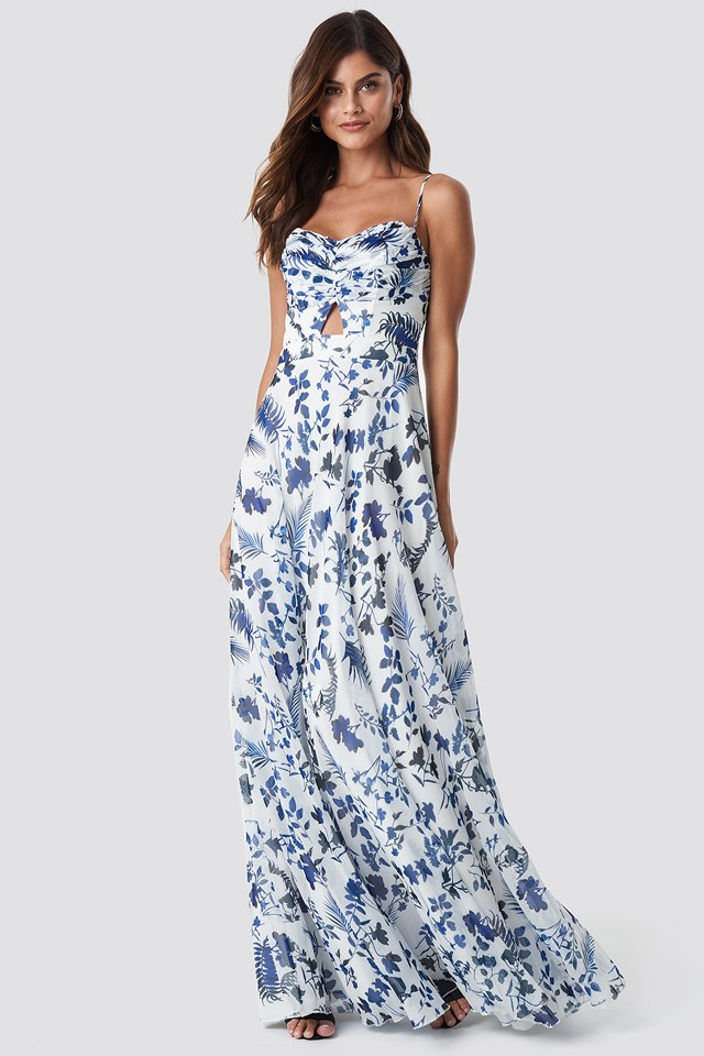 Flower Pattern Maxi Dress Ecru