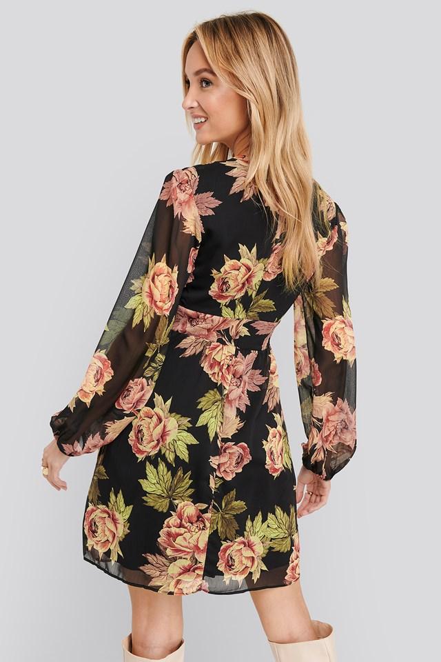 Flower Patterned Dress Black