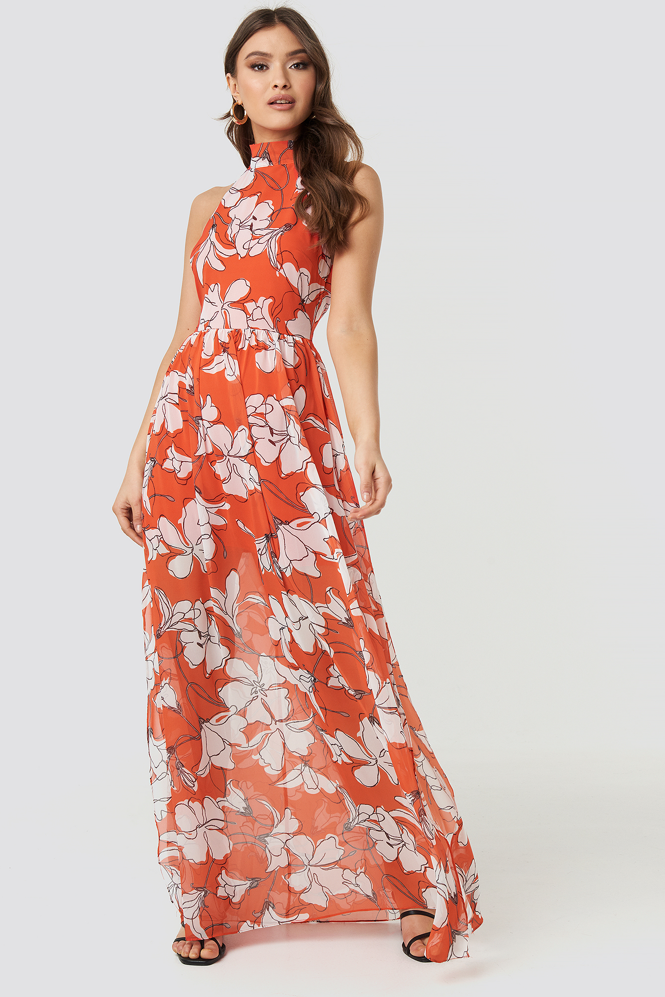 Flower Patterned Long Dress NA-KD.COM