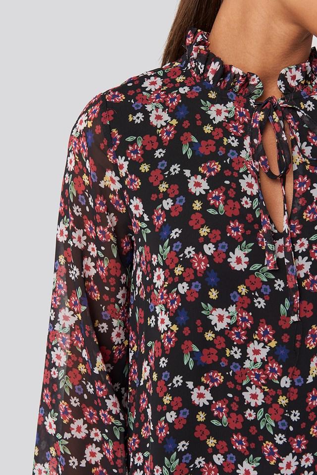 Flower Patterned Mini Dress Black