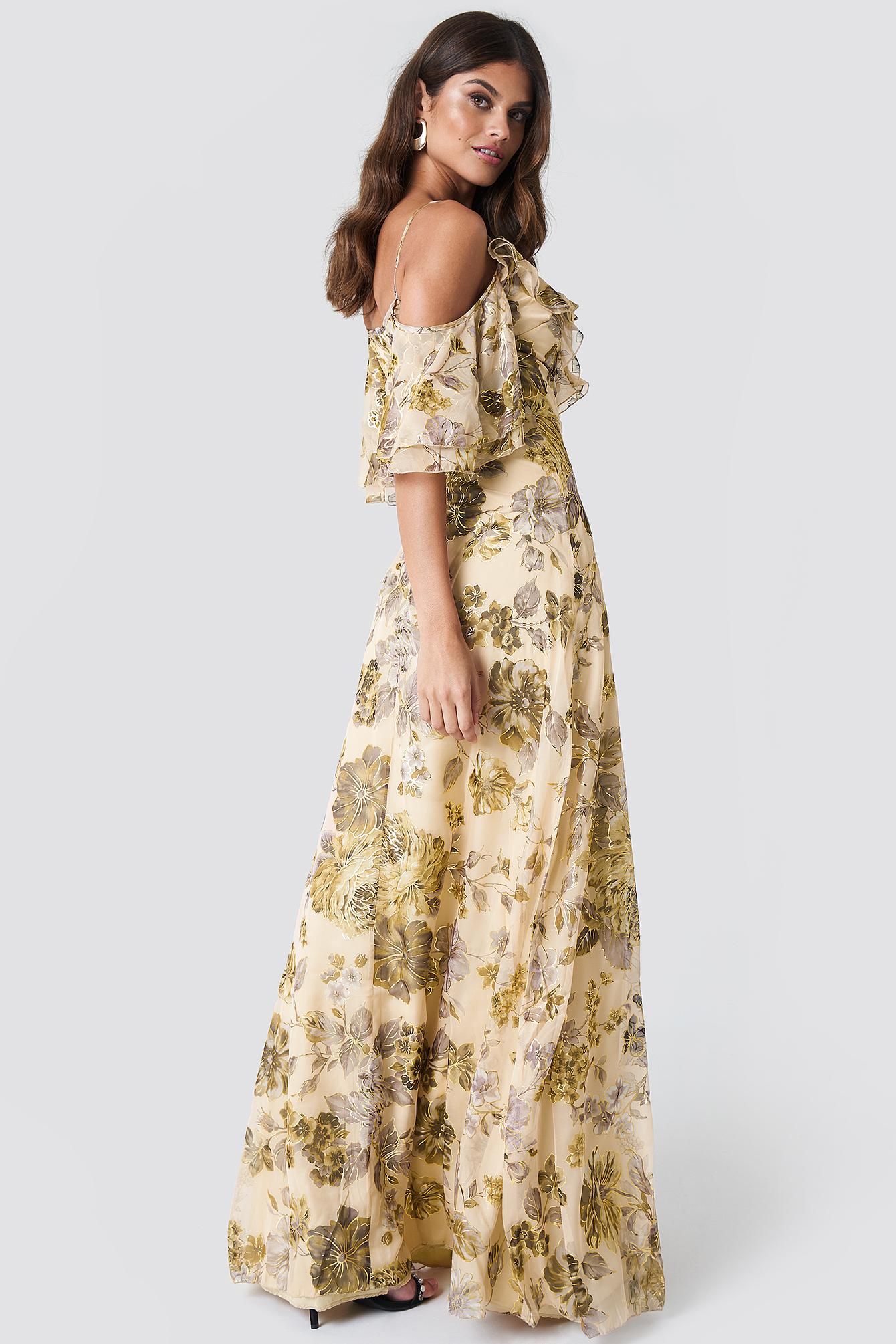Flower Printed Maxi Dress Ecru | na-kd.com