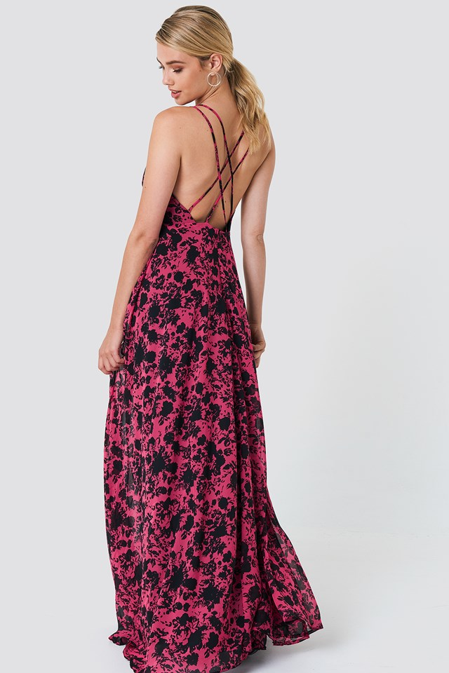 Sukienka maxi z nadrukiem w kwiaty Burgundy