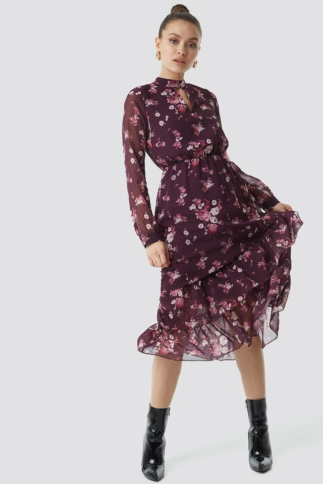 Flower Printed Mesh Dress Damson