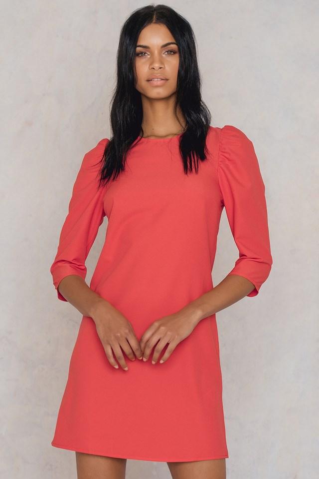 Fluffy Shoulder Dress Coral