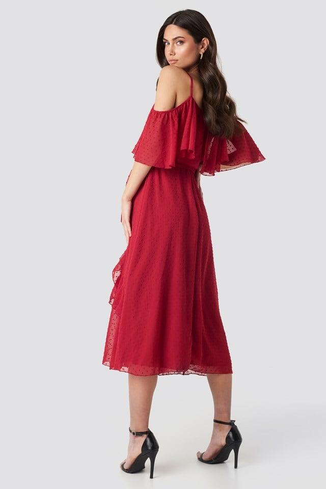 Flywheel Detailed Midi Dress Red