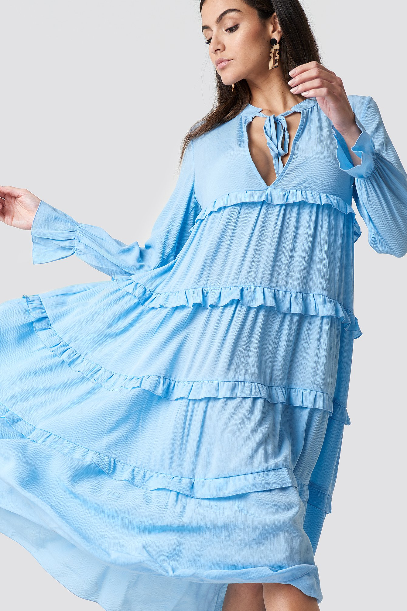 TRENDYOL FLYWHEEL MAXI DRESS - BLUE