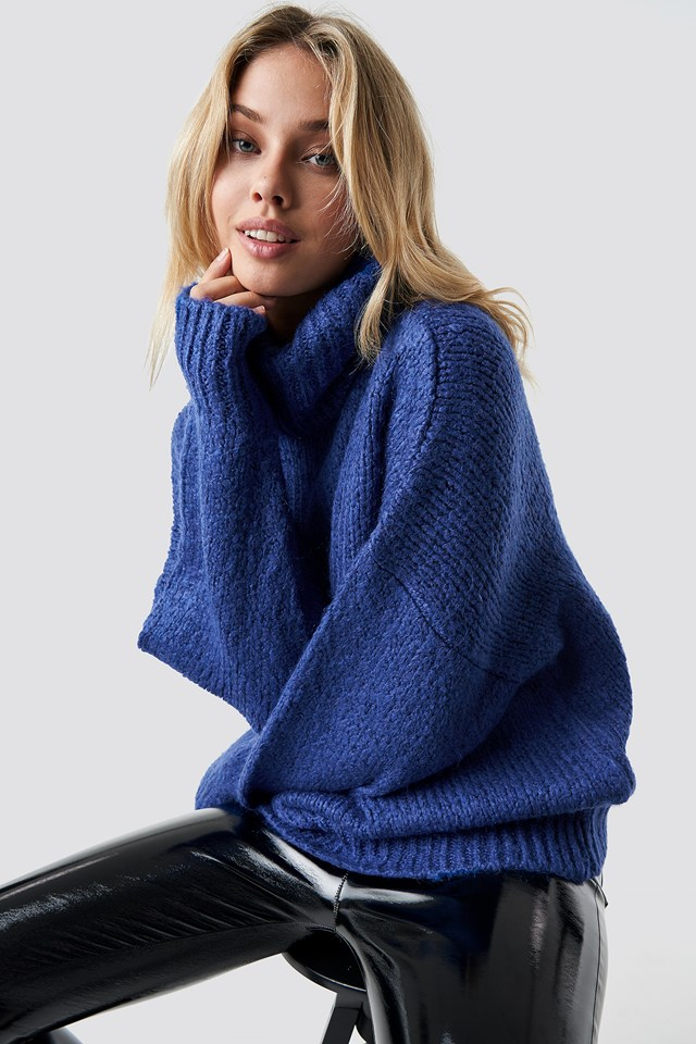 Folded High Neck Sweater Royal Blue