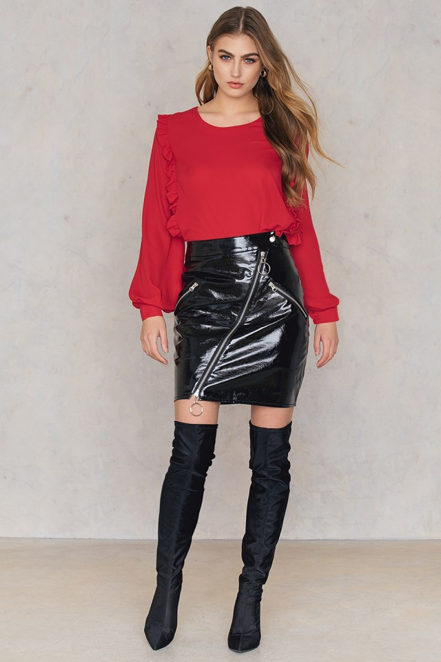 Frill Balloon Sleeve Blouse Red