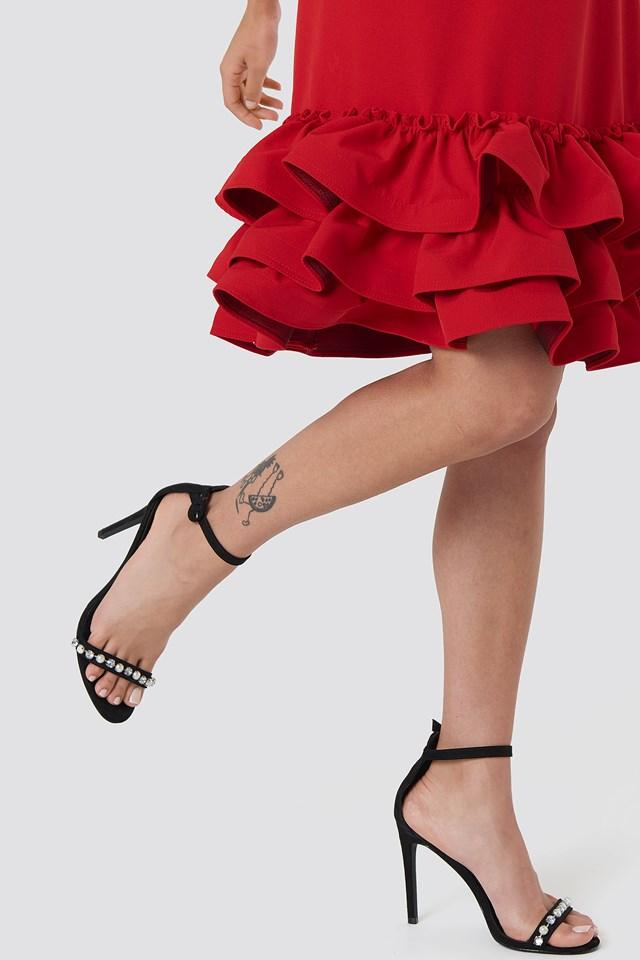 Frill Bottom Mini Dress Red