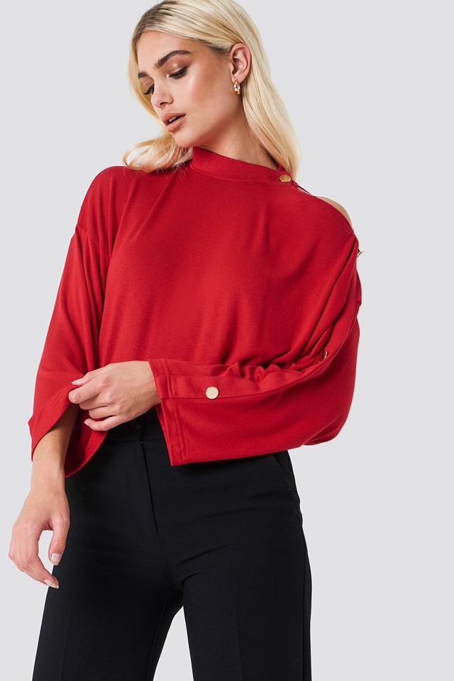 Frill Button Sleeve Top Vermilion