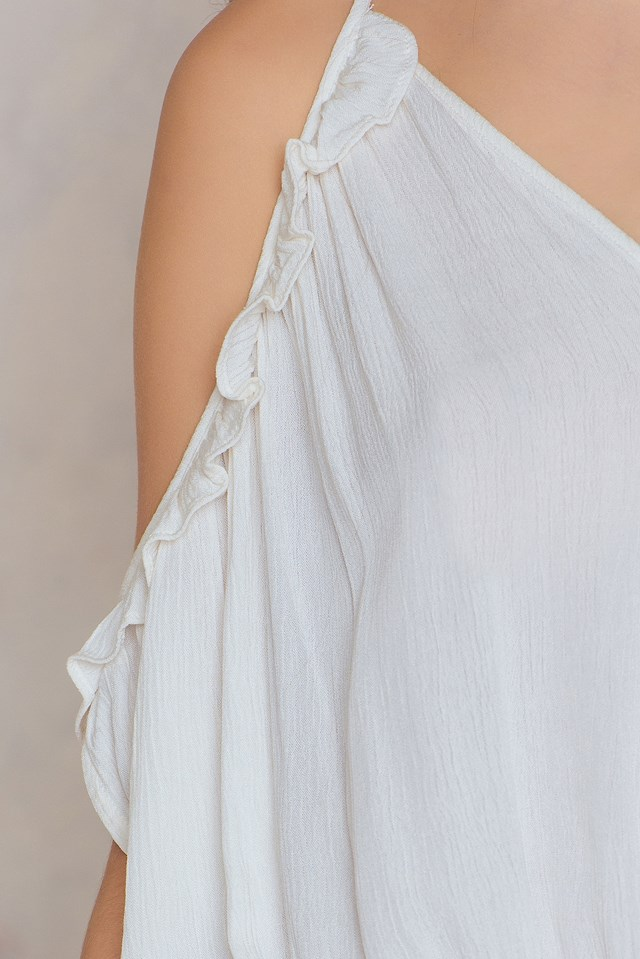 Frill Cold Shoulder Dress Ecru