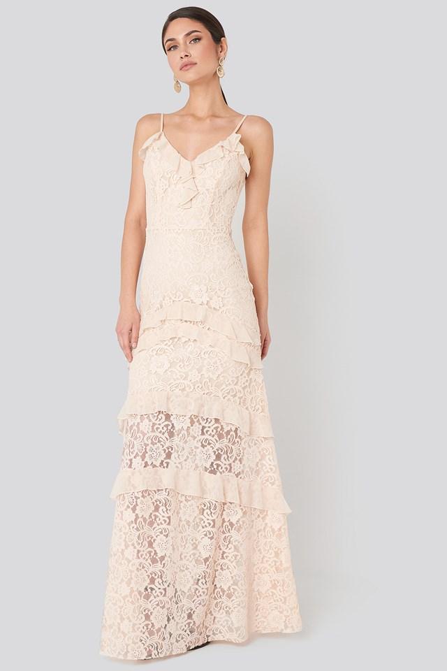 Frill Detail Lace Evening Dress Powder Pink