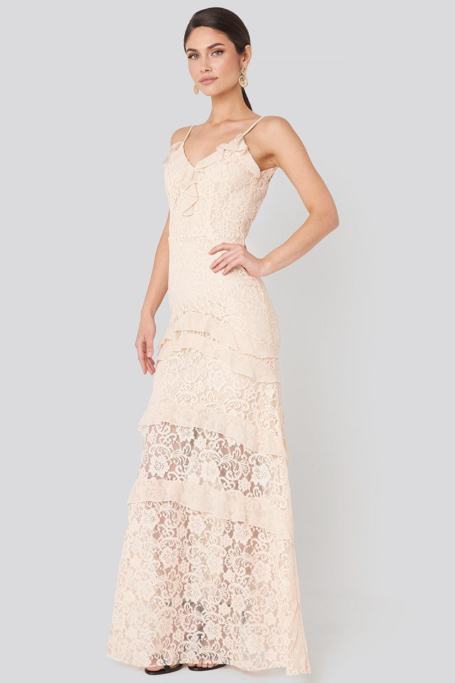 Frill Detail Lace Evening Dress Powder Pink