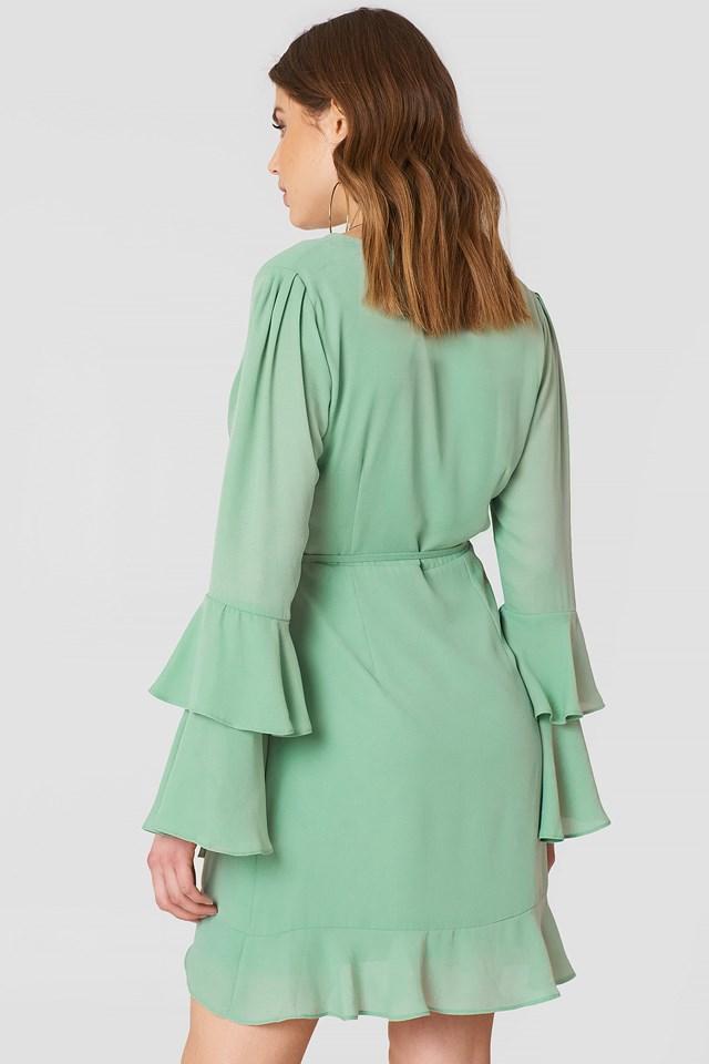Frill Detailed Overlap Dress NA-KD.COM