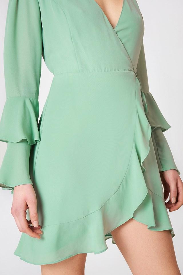 Frill Detailed Overlap Dress Green