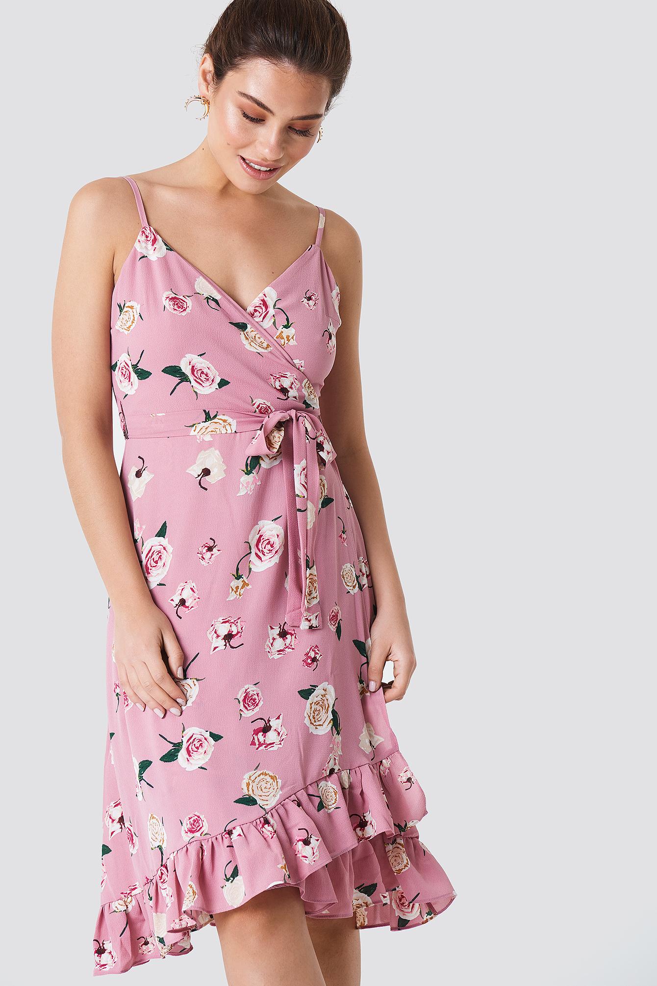 Frill Flower Midi Dress NA-KD.COM