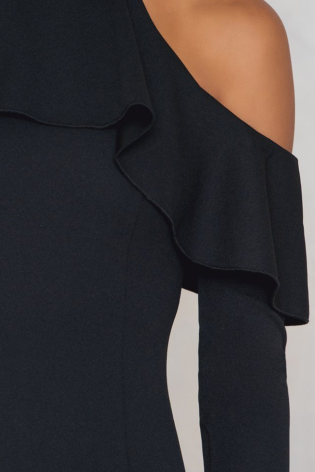 Frill Flute Sleeve Dress Black