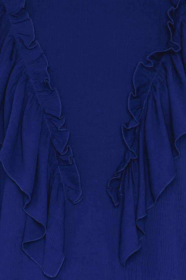 Frill Front Top Royal Blue