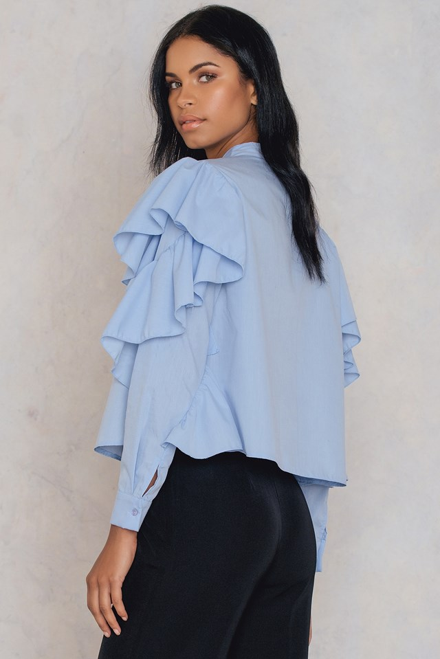Frill Layer Blouse Blue