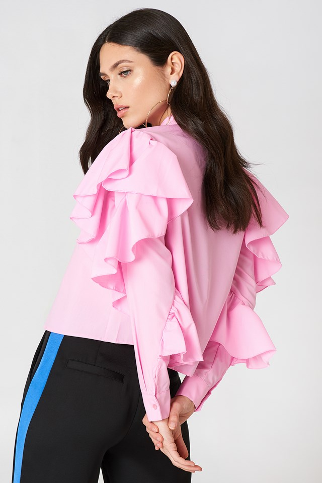 Frill Layer Blouse Pink