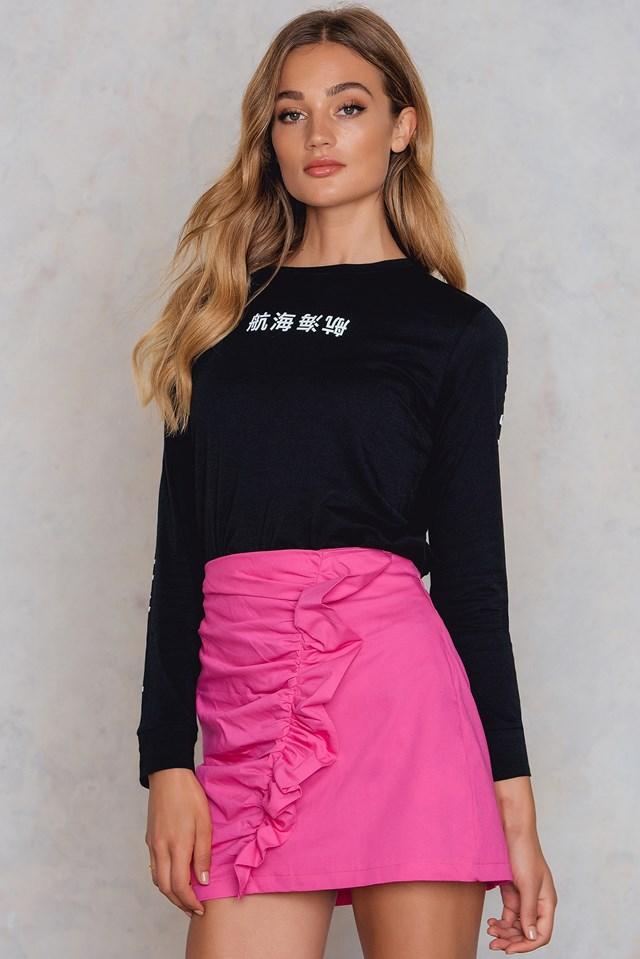 Spódnica mini z falbanką Pink
