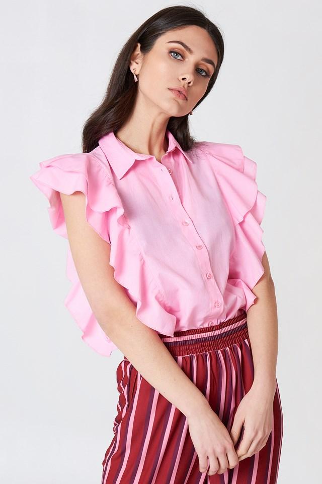 Frill Shirt Top Pink