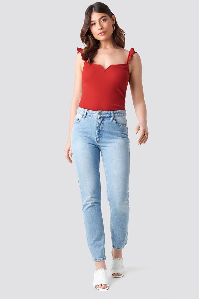 Frill Shoulder Top Red