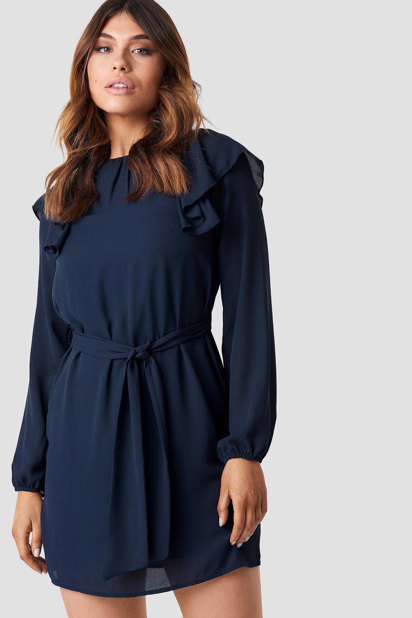 Frill Shoulders Mini Dress NA-KD.COM