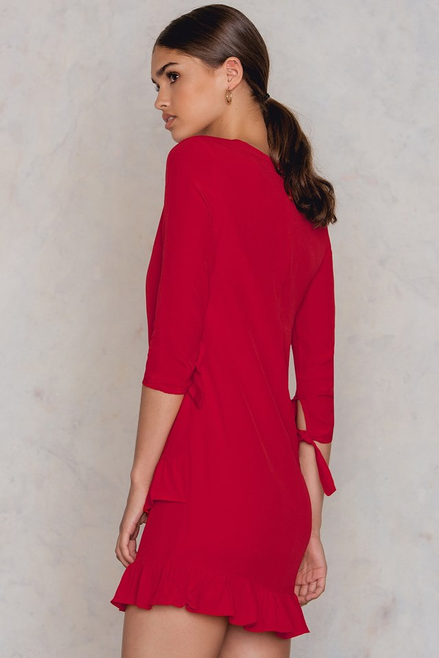 Frill Tie Sleeve Dress Red