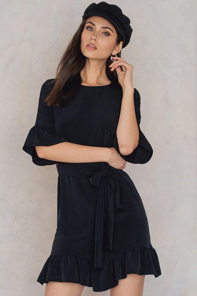 Frill Tie Waist Dress Black