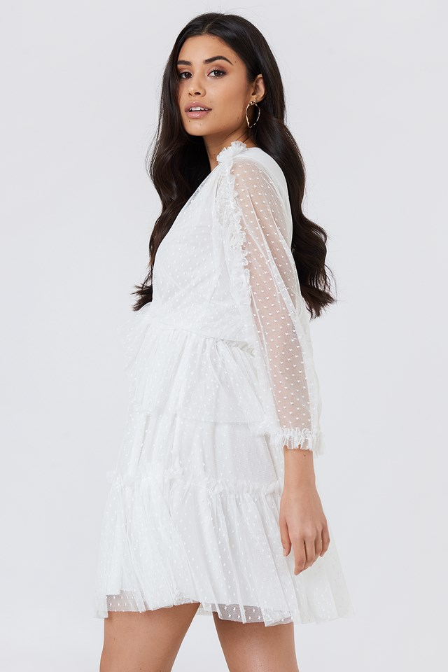 Frill Wrapped Midi Dress Ecru