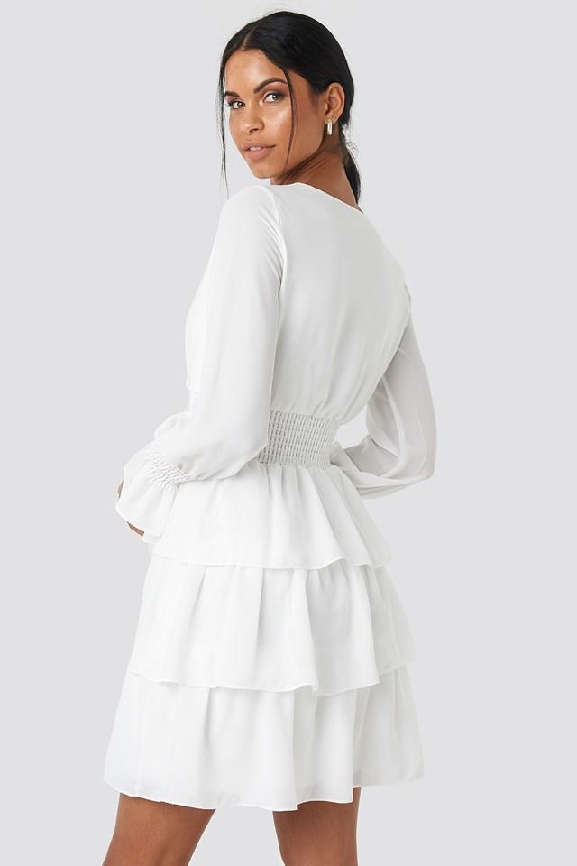 Frilly Midi Dress Ecru